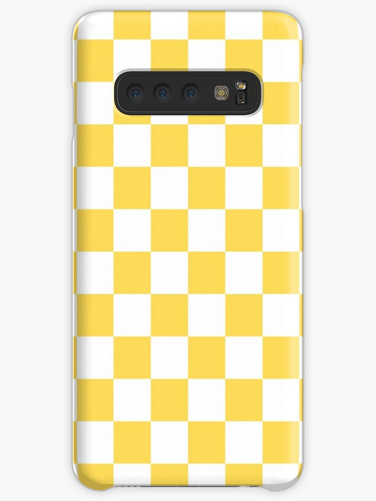 Mustard Yellow And White Checkerboard Pattern by rewstudio