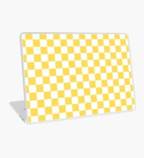 Mustard Yellow And White Checkerboard Pattern Laptop Skin