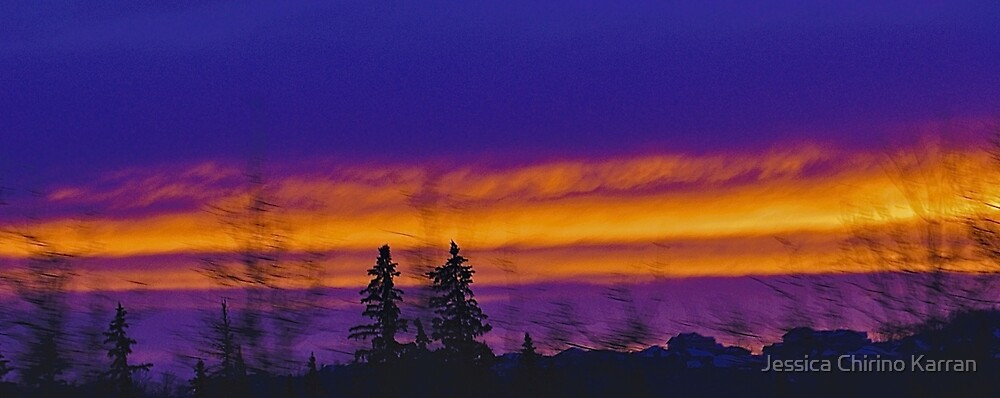 Winter's Color - Sunset from a moving car by Jessica Chirino Karran
