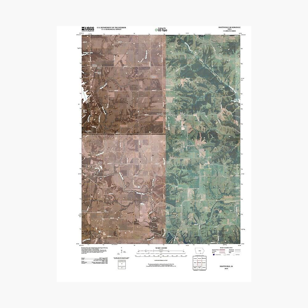 USGS TOPO Maps Iowa IA Hiattsville 20100507 TM Fotodruck
