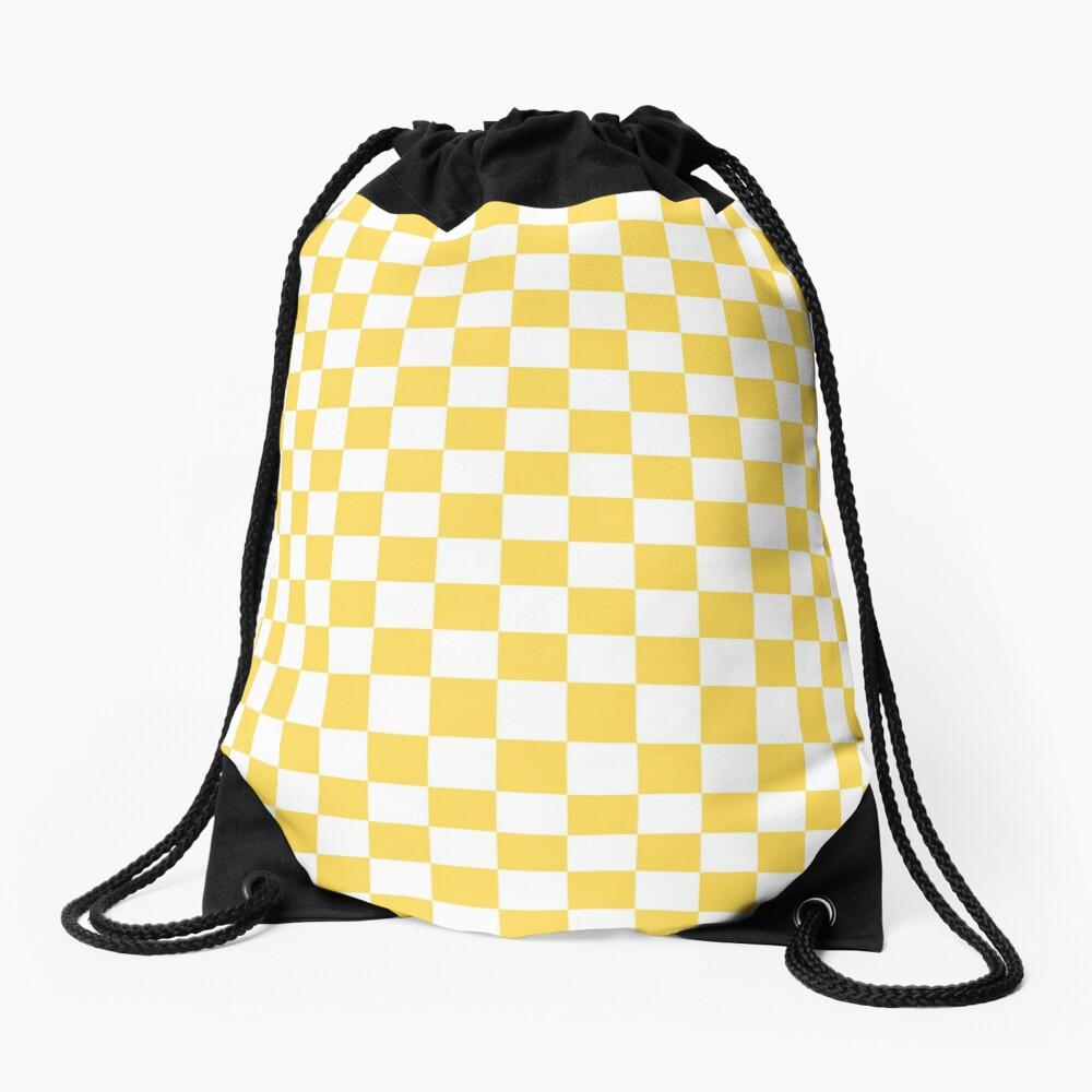 Mustard Yellow And White Checkerboard Pattern Drawstring Bag
