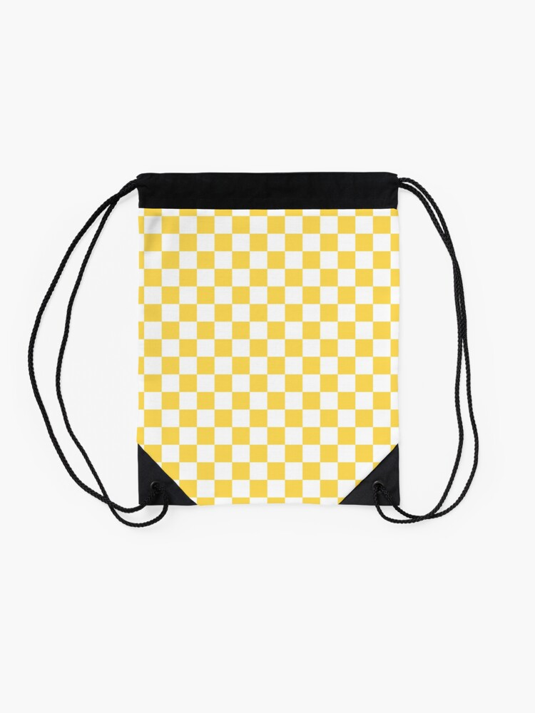Alternate view of Mustard Yellow And White Checkerboard Pattern Drawstring Bag