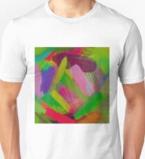 splash painting abstract texture in green pink red purple Unisex T-Shirt