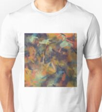 vintage psychedelic splash painting abstract in brown blue orange yellow T-Shirt