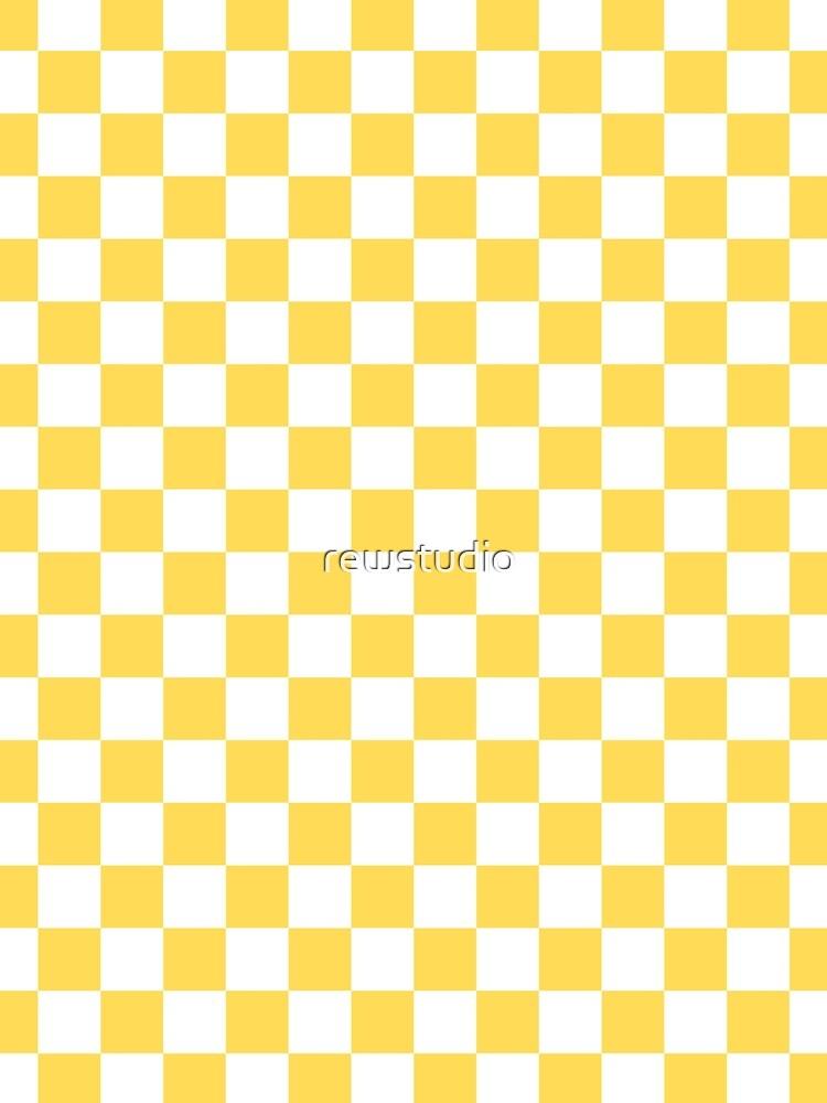 Mustard Yellow And White Checkerboard Pattern by rewstudio