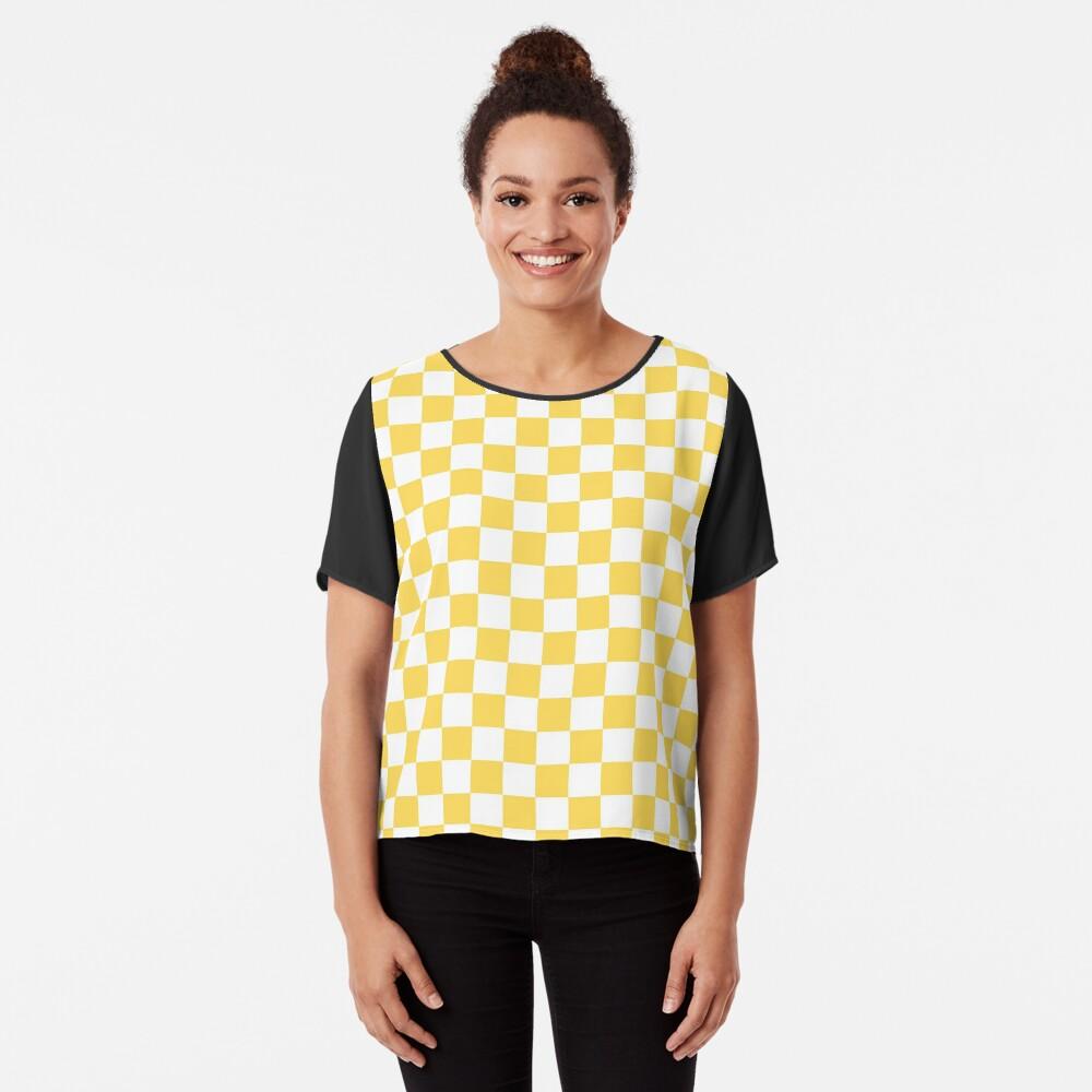 Mustard Yellow And White Checkerboard Pattern Chiffon Top