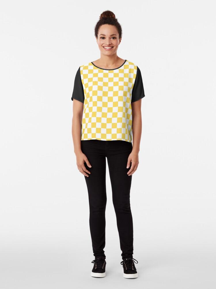 Alternate view of Mustard Yellow And White Checkerboard Pattern Chiffon Top
