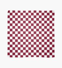 Burgundy And White Checkerboard Pattern Scarf