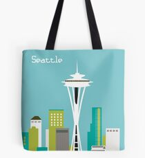 Seattle, Washington in Teal - Skyline Illustration by Loose Petals Tote Bag