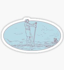 Guy Stand Up Paddle Tropical Island Oval Drawing Sticker