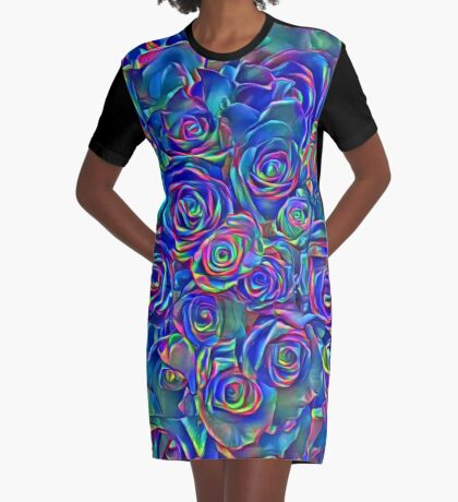 Roses of cosmic lights Graphic T-Shirt Dress
