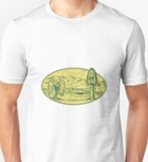 Willow And Sequoia Tree Lake Mountains Oval Drawing Unisex T-Shirt