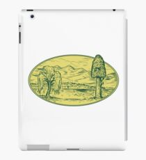 Willow And Sequoia Tree Lake Mountains Oval Drawing iPad Case/Skin
