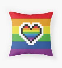Rainbow Pride Pixel Heart Throw Pillow
