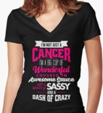 Zodiac Cancer Dash Of Crazy Sun Sign Women's Fitted V-Neck T-Shirt