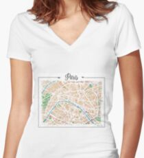 Watercolor map of Paris Women's Fitted V-Neck T-Shirt