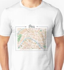 Watercolor map of Paris Unisex T-Shirt