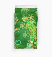 Gecko Lizard Colorful Tattoo Style Duvet Cover