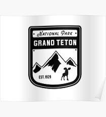 Grand Teton National Park - Jackson Hole Wyoming Badge Poster