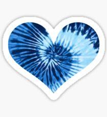 Blue Tie Dye Heart Sticker