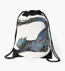 Galaxy Aurora Mountain Cat Drawstring Bag