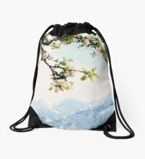 Apple Blossoms and Mountains  Drawstring Bag