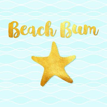 Beach Bum ocean waves beach house art, golden starfish by Glimmersmith