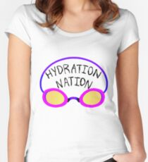 Hydration Nation Swimming Racing Goggles Women's Fitted Scoop T-Shirt