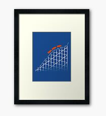 I'm On a Roller Coaster That Only Goes Up (Orange Cars) Framed Print