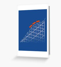 I'm On a Roller Coaster That Only Goes Up (Orange Cars) Greeting Card
