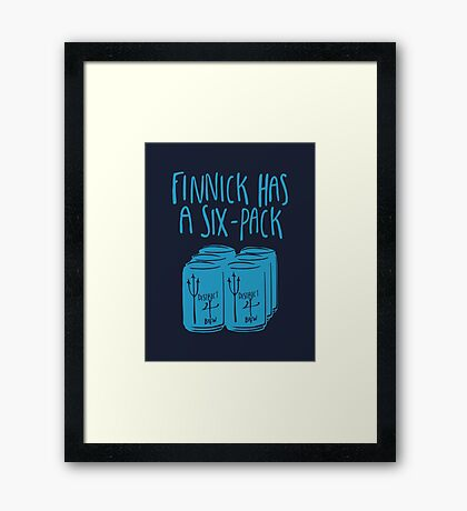 The Swimmer Has a Six-Pack (Light Blue) Framed Print