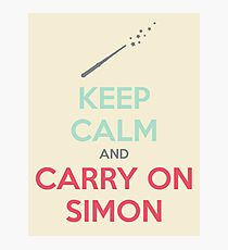 Keep Calm and Carry On Simon (Multi-Color Text) Photographic Print