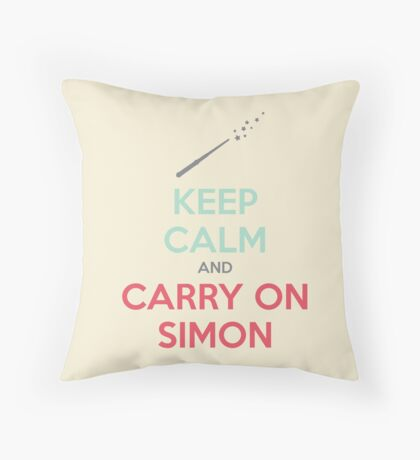 Keep Calm and Carry On Simon (Multi-Color Text) Throw Pillow