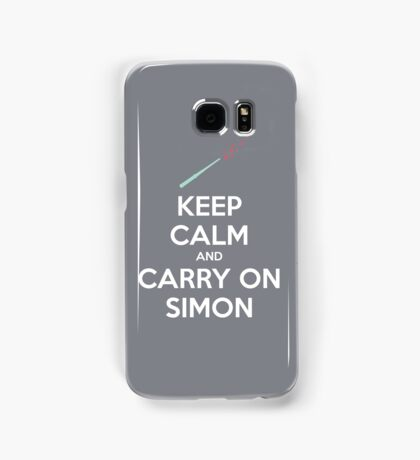 Keep Calm and Carry On Simon (White Text) Samsung Galaxy Case/Skin
