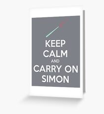 Keep Calm and Carry On Simon (White Text) Greeting Card