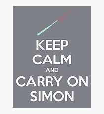 Keep Calm and Carry On Simon (White Text) Photographic Print