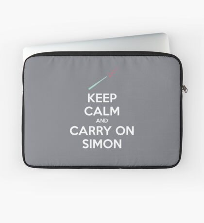 Keep Calm and Carry On Simon (White Text) Laptop Sleeve