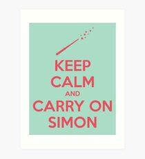 Keep Calm and Carry On Simon (Pink Text) Art Print