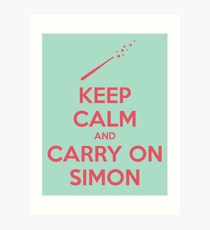 Keep Calm and Carry On Simon (Pink Text) Art Print