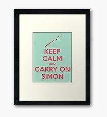 Keep Calm and Carry On Simon (Pink Text) Framed Print