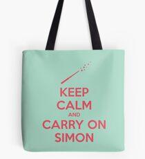 Keep Calm and Carry On Simon (Pink Text) Tote Bag