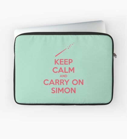 Keep Calm and Carry On Simon (Pink Text) Laptop Sleeve