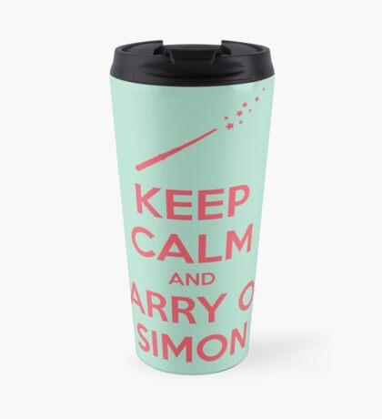 Keep Calm and Carry On Simon (Pink Text) Travel Mug