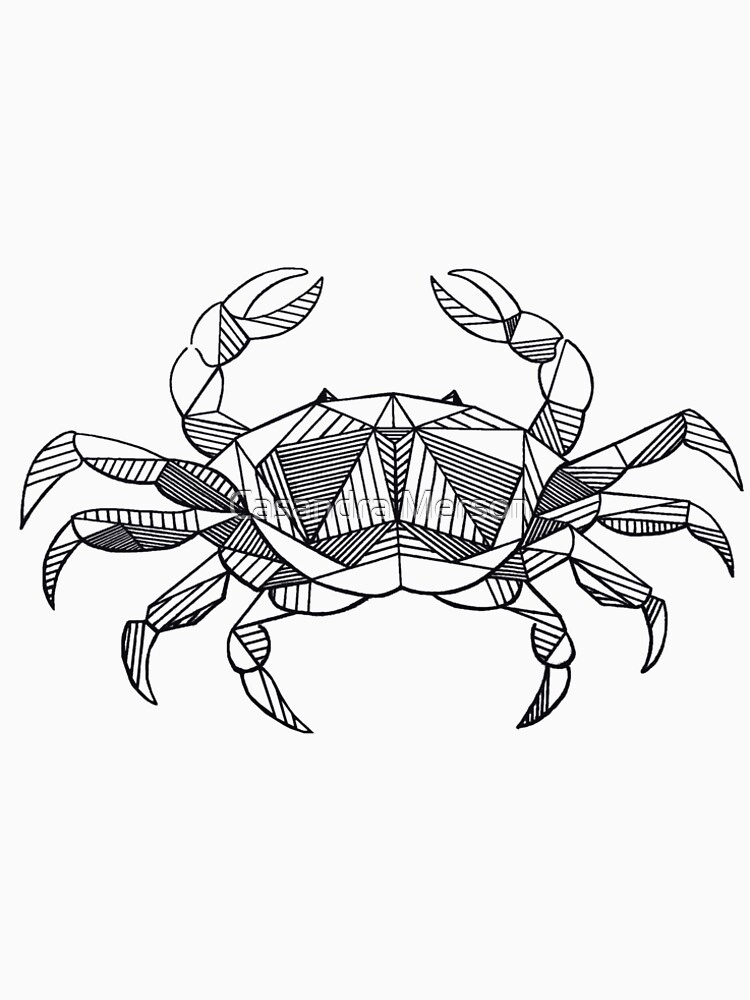 Geometric Cancer Crab Womens Premium T Shirt By Casandras Art
