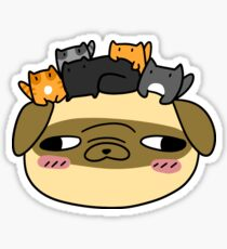Pug Face with Kittens Sticker