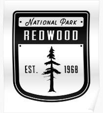 Redwood National Park California Badge Poster