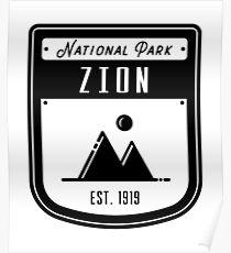 Zion National Park Utah Badge Poster