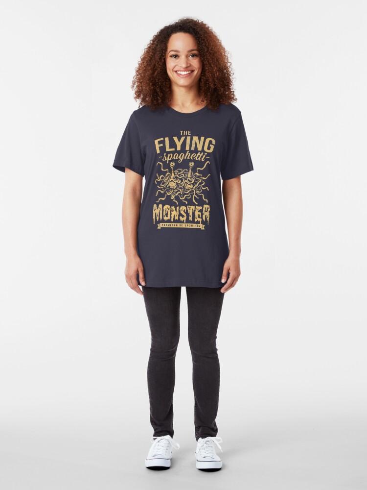 Alternate view of The Flying Spaghetti Monster (dark) Slim Fit T-Shirt