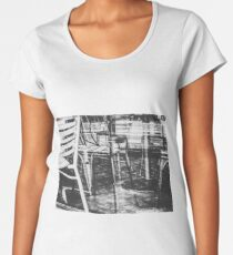 outdoor chairs in the city in black and white Women's Premium T-Shirt