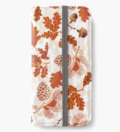 A pattern of acorn,pine cone & Leaves /cornucopia(780  Views) iPhone Wallet